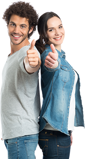 man and woman standing back to back giving the thumbs up