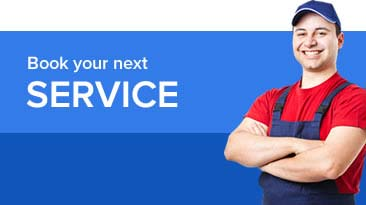 Book your next service graphic showing a man in overalls