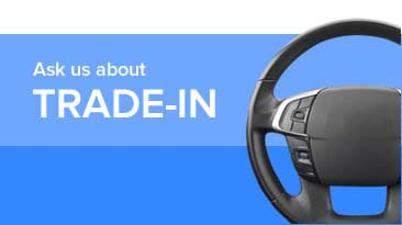 Ask about a trade-in graphic showing a steering wheel